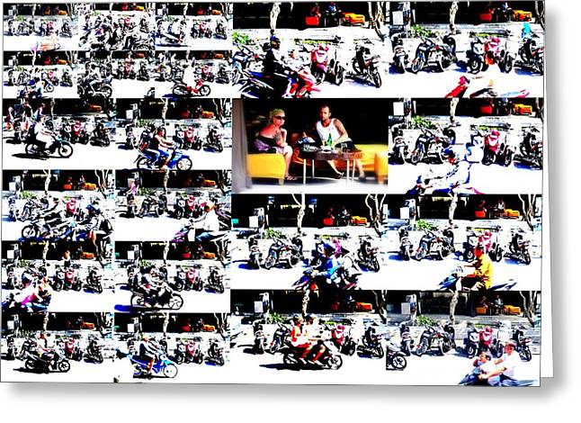 Motorbike Watching On Ubud Streets   Greeting Card by Funkpix Photo Hunter