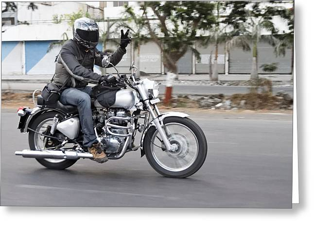 Motorbiker Peace Greeting Card by Kantilal Patel