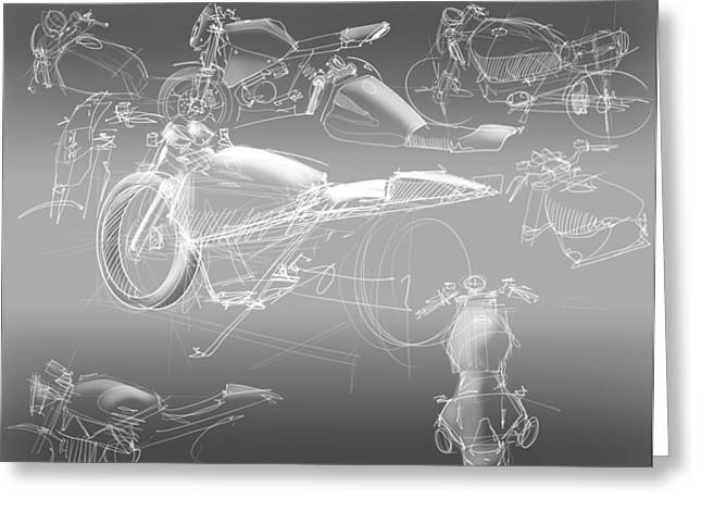 Motorcycle Concept Sketches Greeting Card by Jeremy Lacy