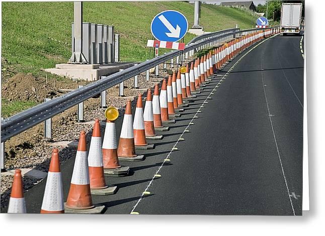 Motorway Traffic Cones Greeting Card by Linda Wright
