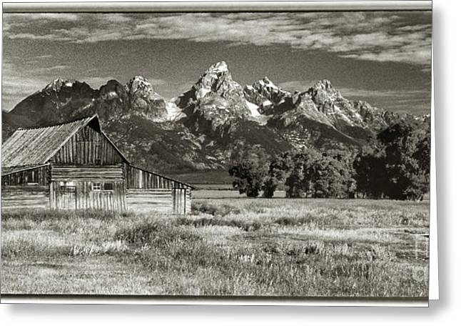 Moulton Barn And The Grand Tetons Greeting Card by Sandra Bronstein