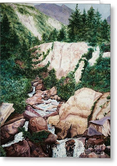 Mounrain Creek Falls Greeting Card by Vikki Wicks