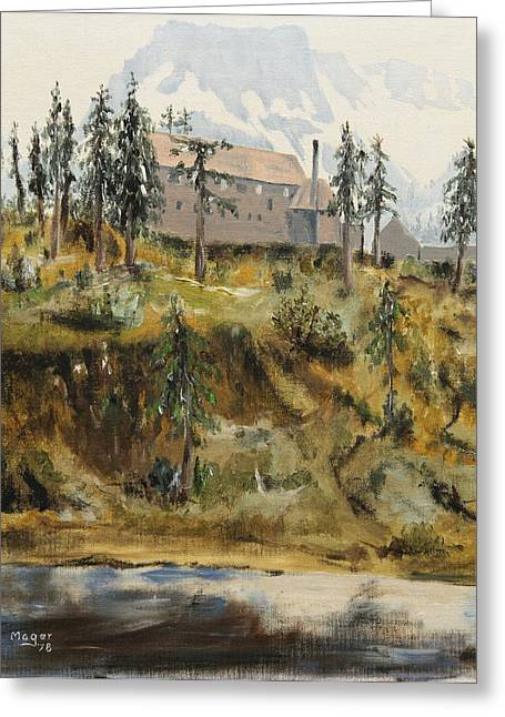 Mount Baker Lodge Greeting Card by Alan Mager