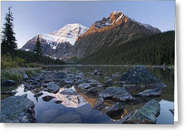 Mount Edith Cavell, Cavell Lake, Jasper Greeting Card by Philippe Widling
