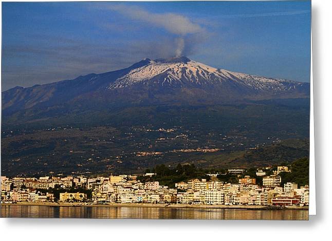 Mount Etna Greeting Card by David Smith