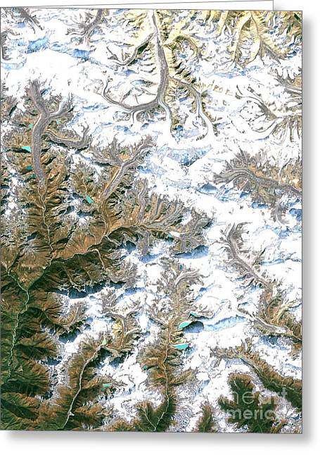 Mount Everest  Greeting Card by Planet Observer and Photo Researchers