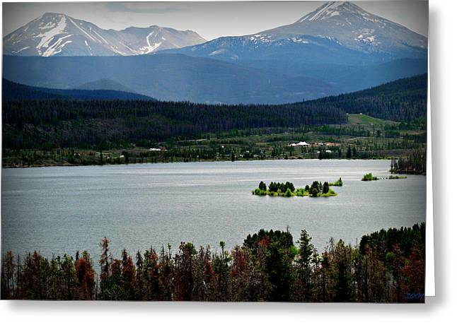 Mount Guyot And Bald Mountain Over Dillon Reservoir Greeting Card