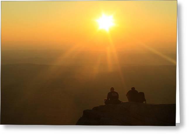Mount Monadnock Hikers Sunset Greeting Card