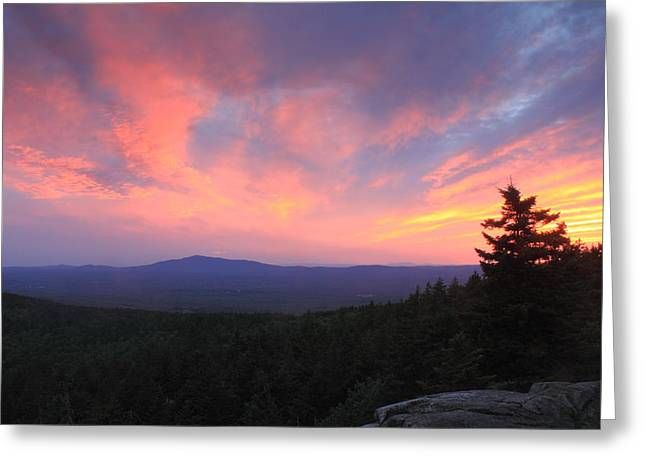 Mount Monadnock Sunset From North Pack Monadnock Greeting Card