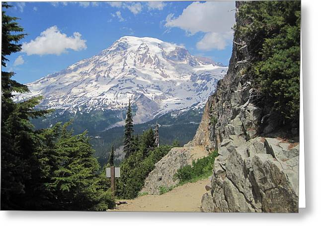 Greeting Card featuring the photograph Mount Rainier From The Pinnacle Peak Trail by Karen Molenaar Terrell