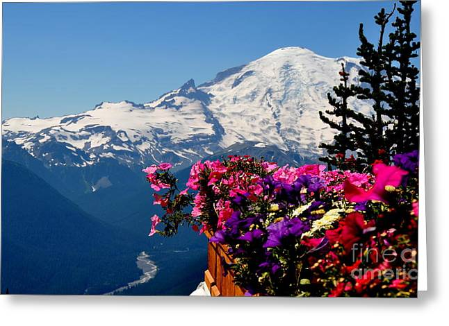 Mount Rainier Seen From Crystal Mountain Summit  3 Greeting Card