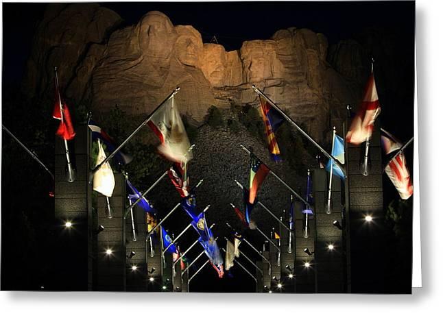 Greeting Card featuring the photograph Mount Rushmore By Night by Paul Svensen
