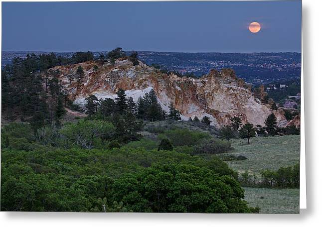 Greeting Card featuring the photograph Mount Saint Francis And The Super Moon by Andrew Serff