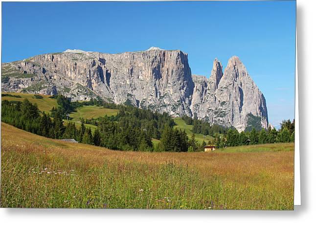 Mount Sciliar In Summer Greeting Card by Dan Breckwoldt