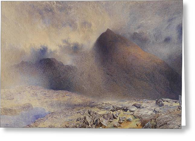 Mount Snowdon Through Clearing Clouds Greeting Card by Alfred William Hunt