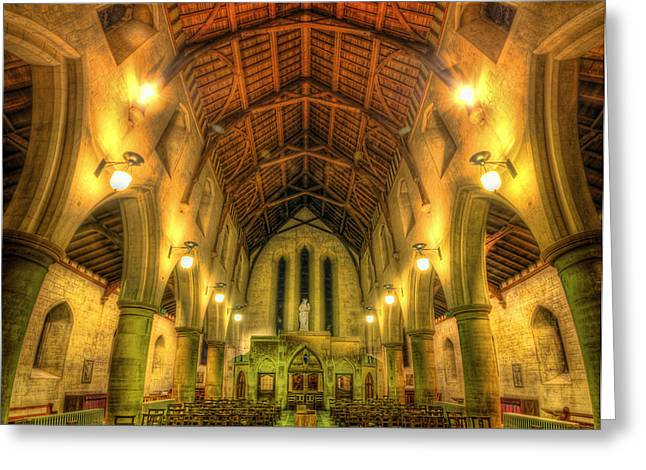 Mount St Bernard Abbey - The Nave Greeting Card by Yhun Suarez