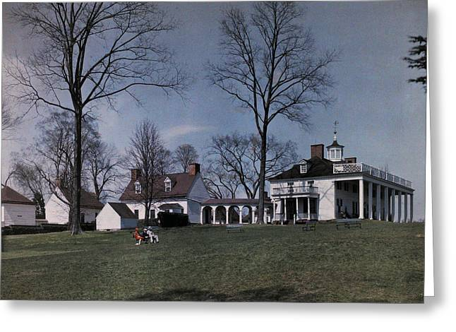 Mount Vernon Sits On A Hill Overlooking Greeting Card by Clifton R. Adams