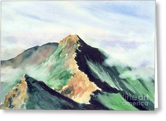 Greeting Card featuring the painting Mountain  1 by Yoshiko Mishina