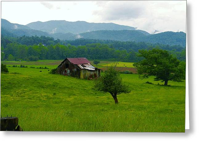 Mountain Barn Greeting Card by Utopia Concepts
