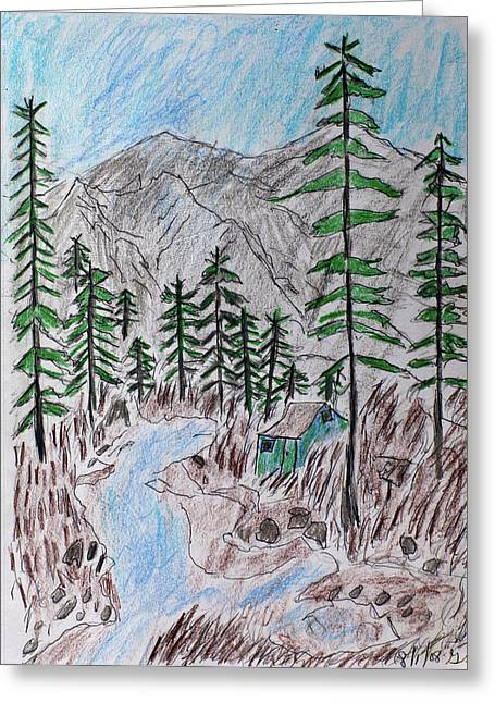 Greeting Card featuring the drawing Mountain Cabin Near A Stream by Swabby Soileau