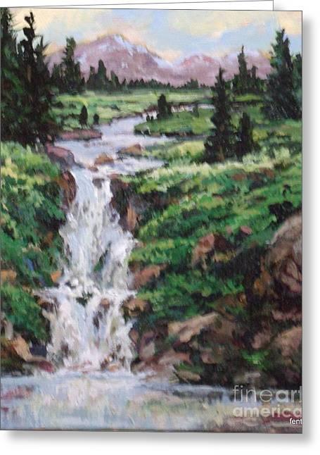Mountain Cascade Greeting Card by W  Scott Fenton