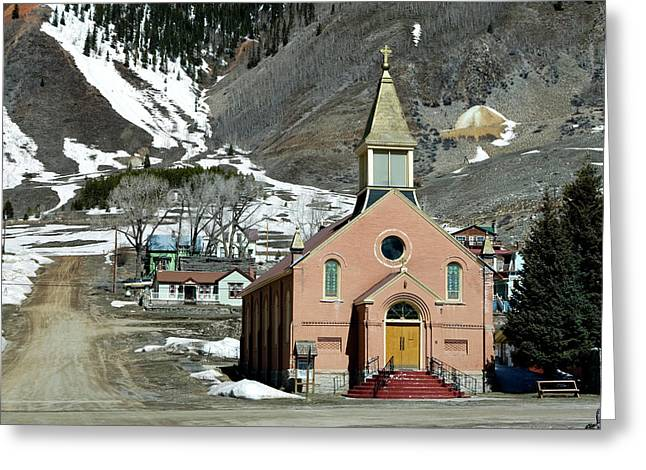 Greeting Card featuring the photograph Mountain Chapel With Red Steps by Lorraine Devon Wilke