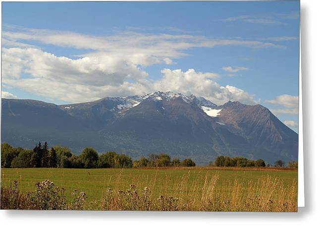 Mountain Field Greeting Card by Kim French