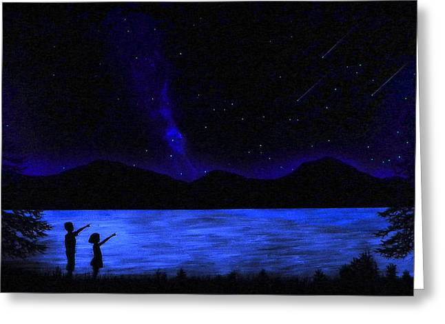 Mountain Lake Glow In The Dark Mural Greeting Card by Frank Wilson