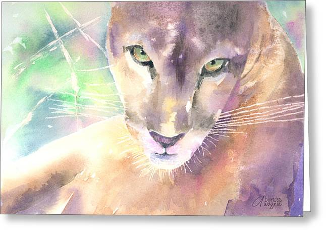 Mountain Lion Greeting Card by Arline Wagner