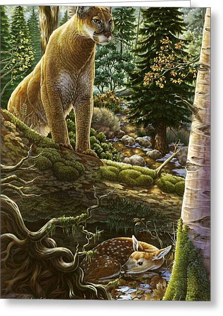 Mountain Lion With Fawn Greeting Card by Anne Wertheim