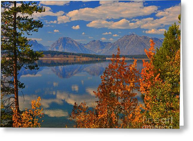 Mountain Reflections In Autumn Grand Tetons Greeting Card