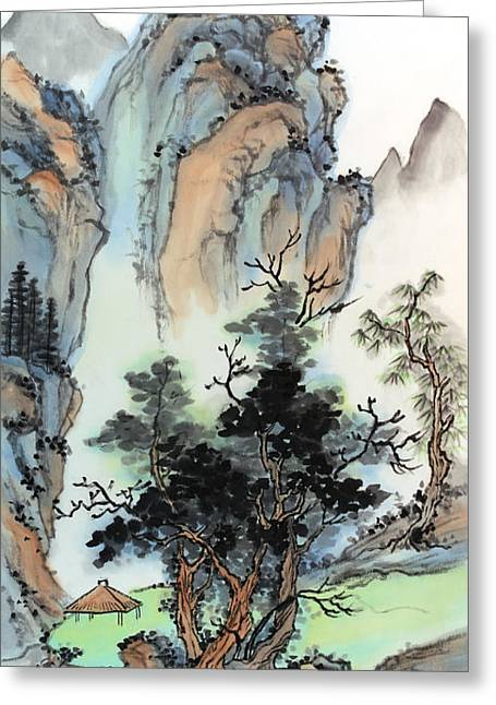 Mountain Retreat Greeting Card by Yolanda Koh
