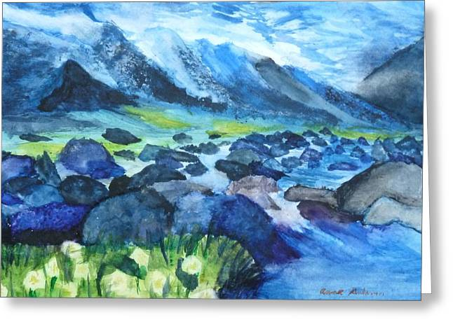 Mountain River Greeting Card by Anna  Henderson