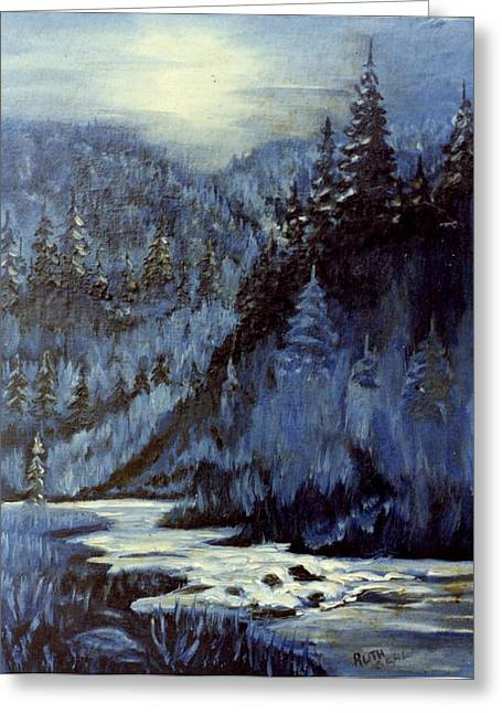 Mountain Stream In Moonlight Greeting Card