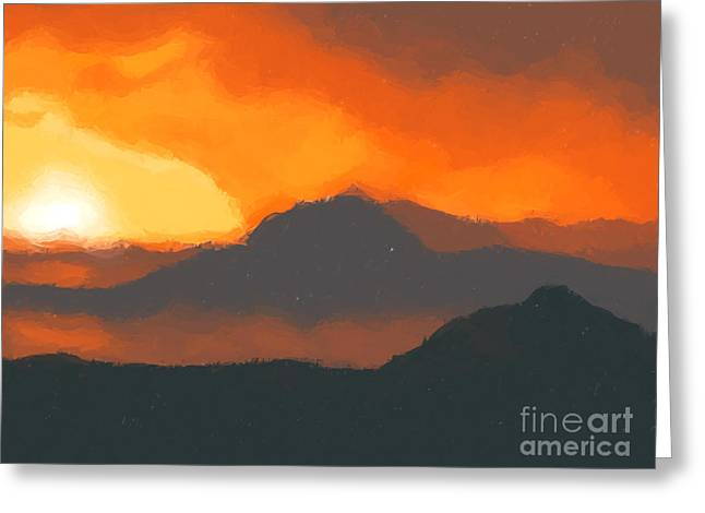 Mountain Sunset Greeting Card by Pixel  Chimp