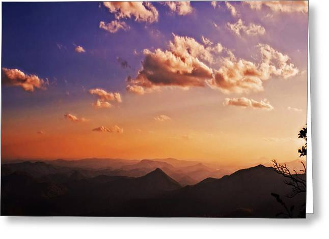 Mountain Sunset Greeting Card by Susan Leggett