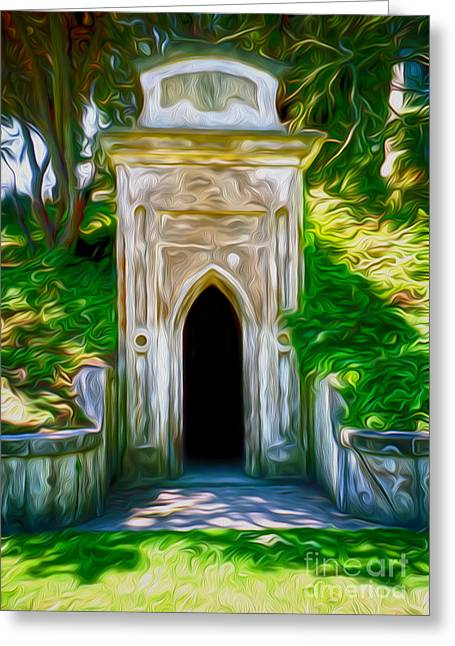 Mountain View Cemetery Tomb - Number 4 Greeting Card by Gregory Dyer
