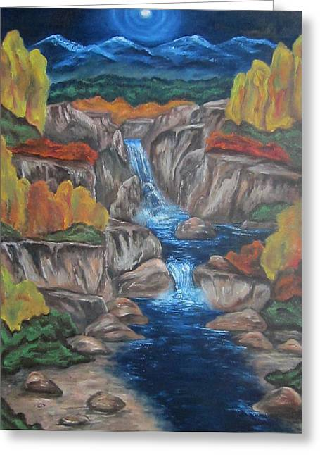 Greeting Card featuring the painting Mountain Waters by Cheryl Pettigrew