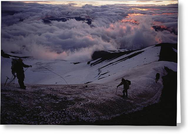 Mountaineers Cross A Snow Crusted Ridge Greeting Card by Sam Abell