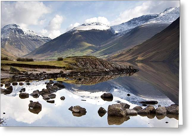 Mountains And Lake At Lake District Greeting Card