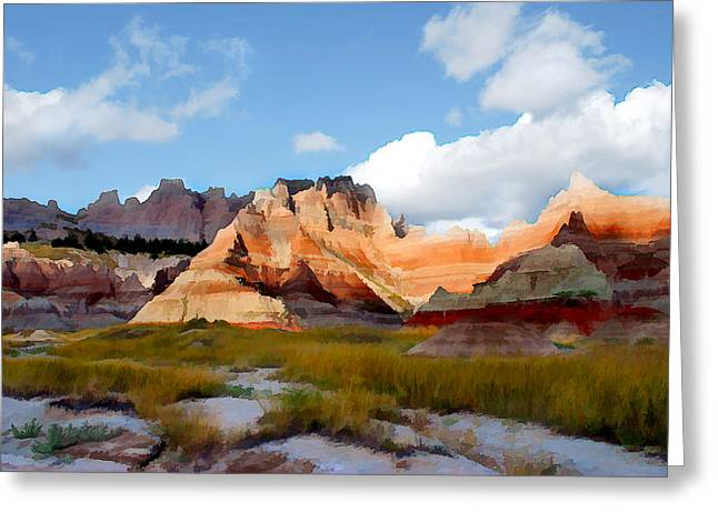 Mountains And Sky In Badlands National Park Greeting Card by Elaine Plesser