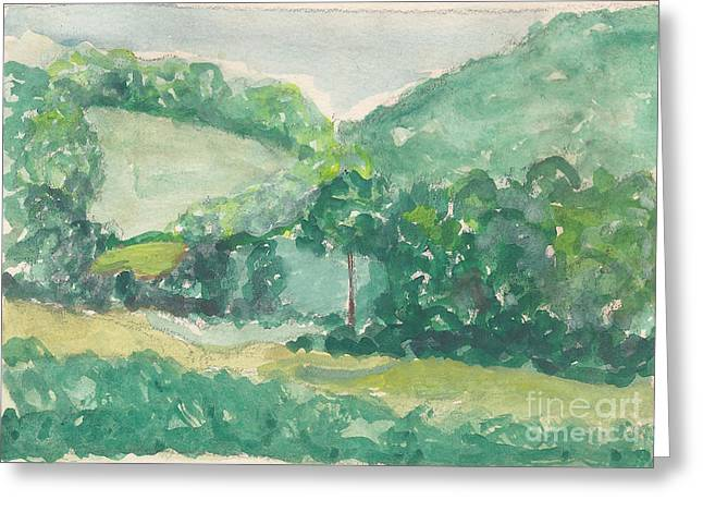 Mountains And Valley Greeting Card by Fred Jinkins