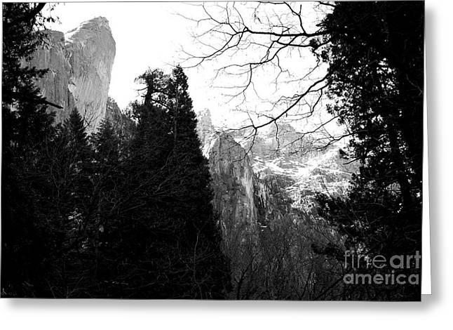 Mountains Of Yosemite . 7d6213 . Black And White Greeting Card by Wingsdomain Art and Photography