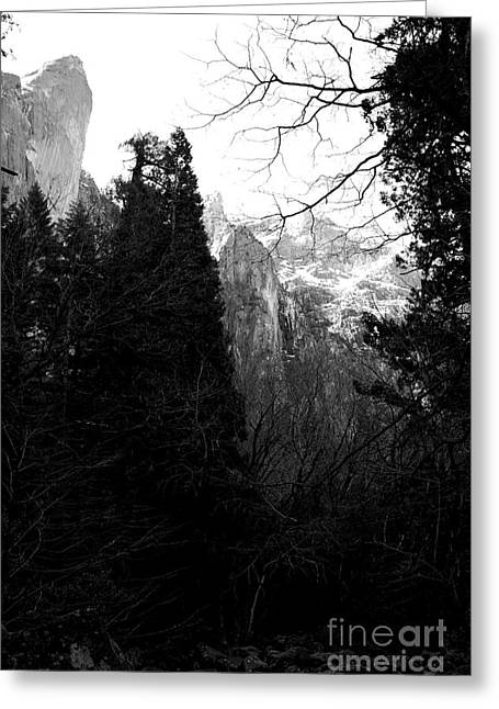 Mountains Of Yosemite . 7d6214 . Black And White Greeting Card by Wingsdomain Art and Photography