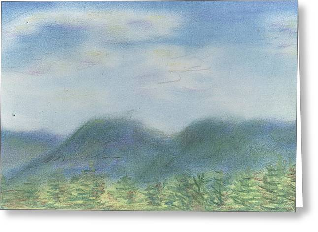 Greeting Card featuring the pastel Mountains Over Lennox by Denny Morreale