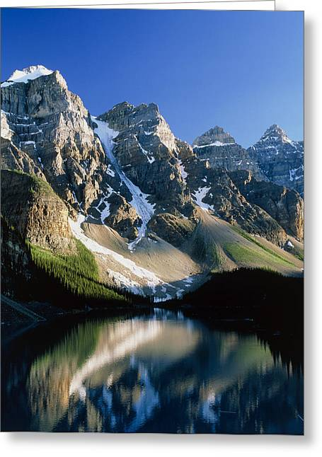 Mountains Reflected In Moraine Lake, Canada Greeting Card