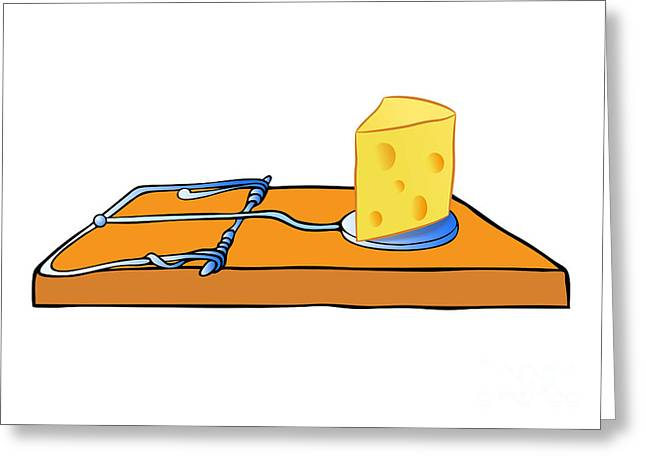 Mousetrap With Cheese - Trap Greeting Card by Michal Boubin