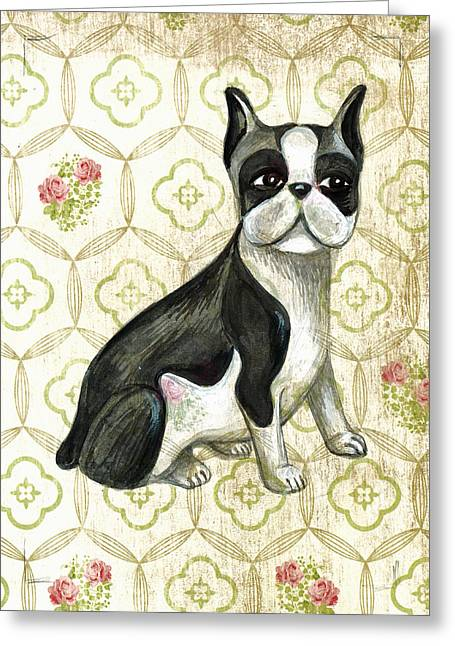 Mr. Iggy The Boston Terrier Greeting Card by Nancy Mitchell