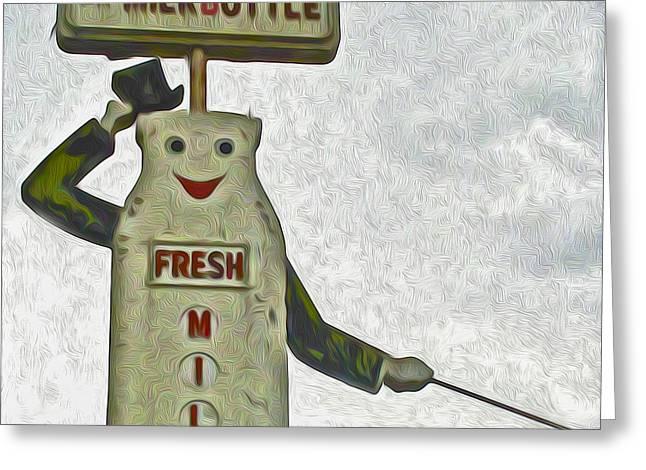Mr Milk Sign Greeting Card