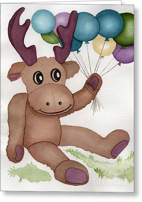 Mr Moose With Balloons Greeting Card by Vikki Wicks